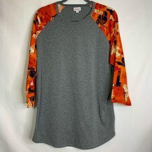 3/$25 LULAROE Gray & Orange Randy Baseball T-Shirt